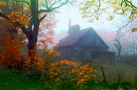 Autumn Sugarhouse Morning Fog